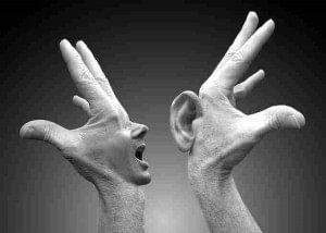 image hender som snakker